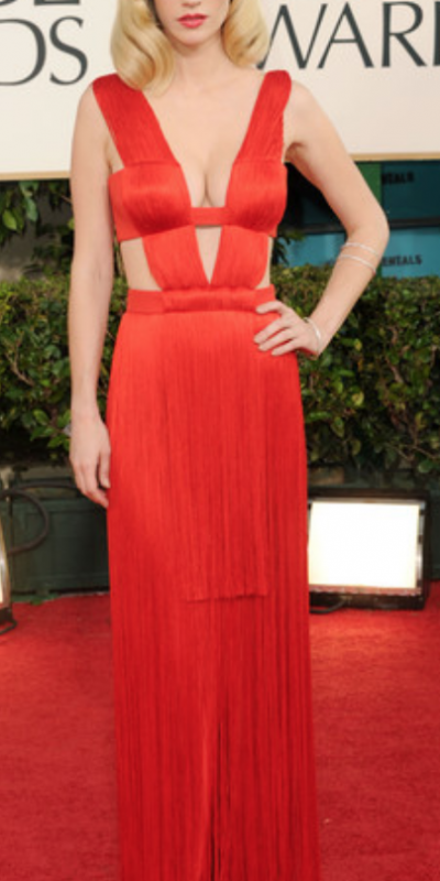 january jones vestido rojo